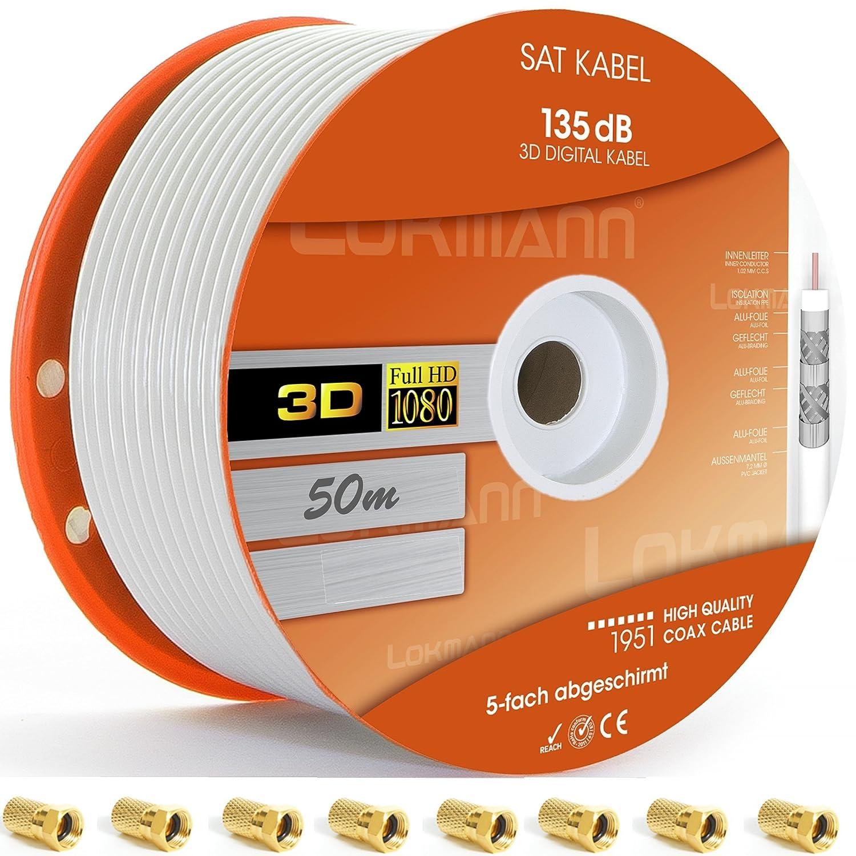 Cable de antena coaxial, cable de satélite para instalaciones DVB-S/S2 DVB-C y DVB-T BK /Full HD y otros, Weiß, 50 m: Amazon.es: Hogar
