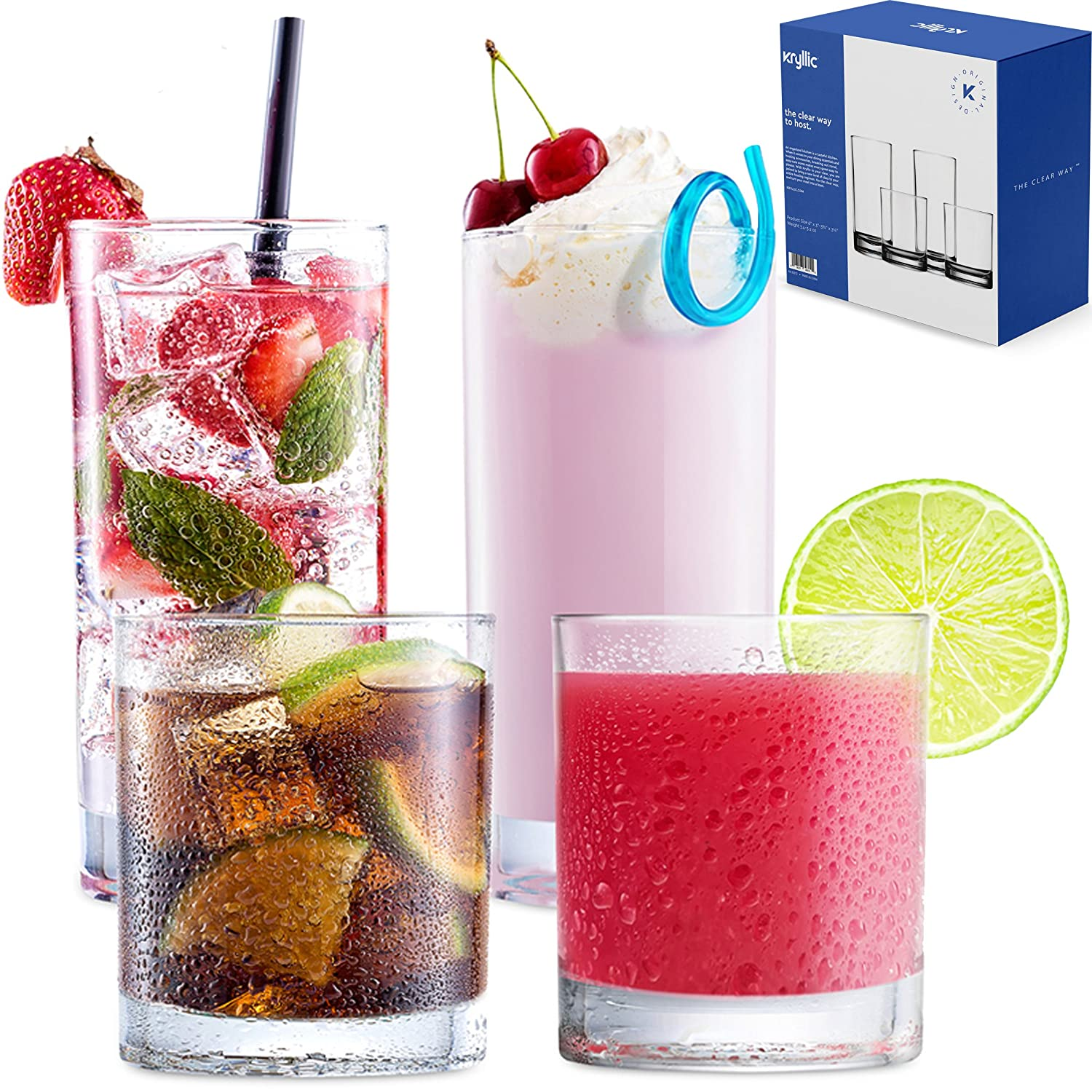 Plastic Tumbler Cups Drinking Glasses - Acrylic Highball Tumblers Set of 4 (2x16oz & 2x14oz) Clear Reusable Kitchen Drinkware Dishwasher Safe Bpa Free Hard Rocks Glass Drink Wine Water Juice Cup Sets