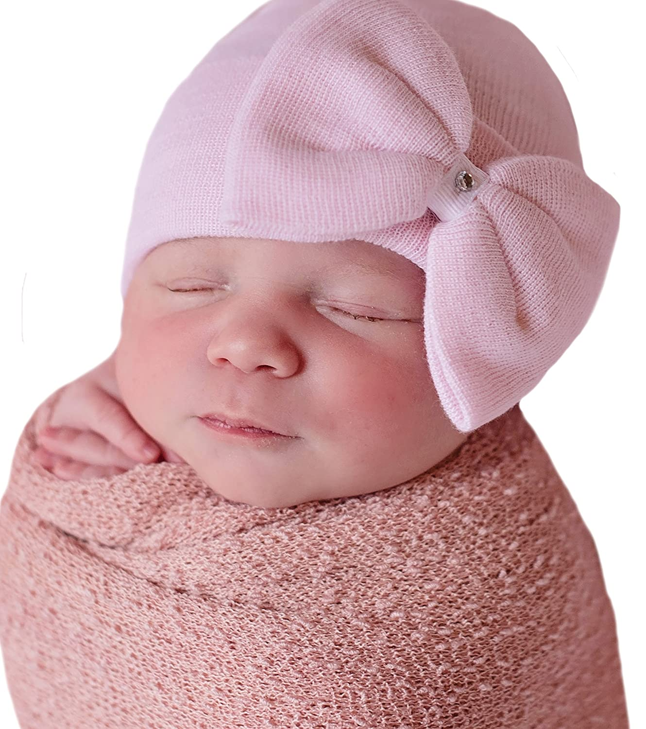 Melondipity Girls Newborn Pink Big Bow with Gem Hospital Baby Hat - Handmade in USA Melondipity Baby Hats