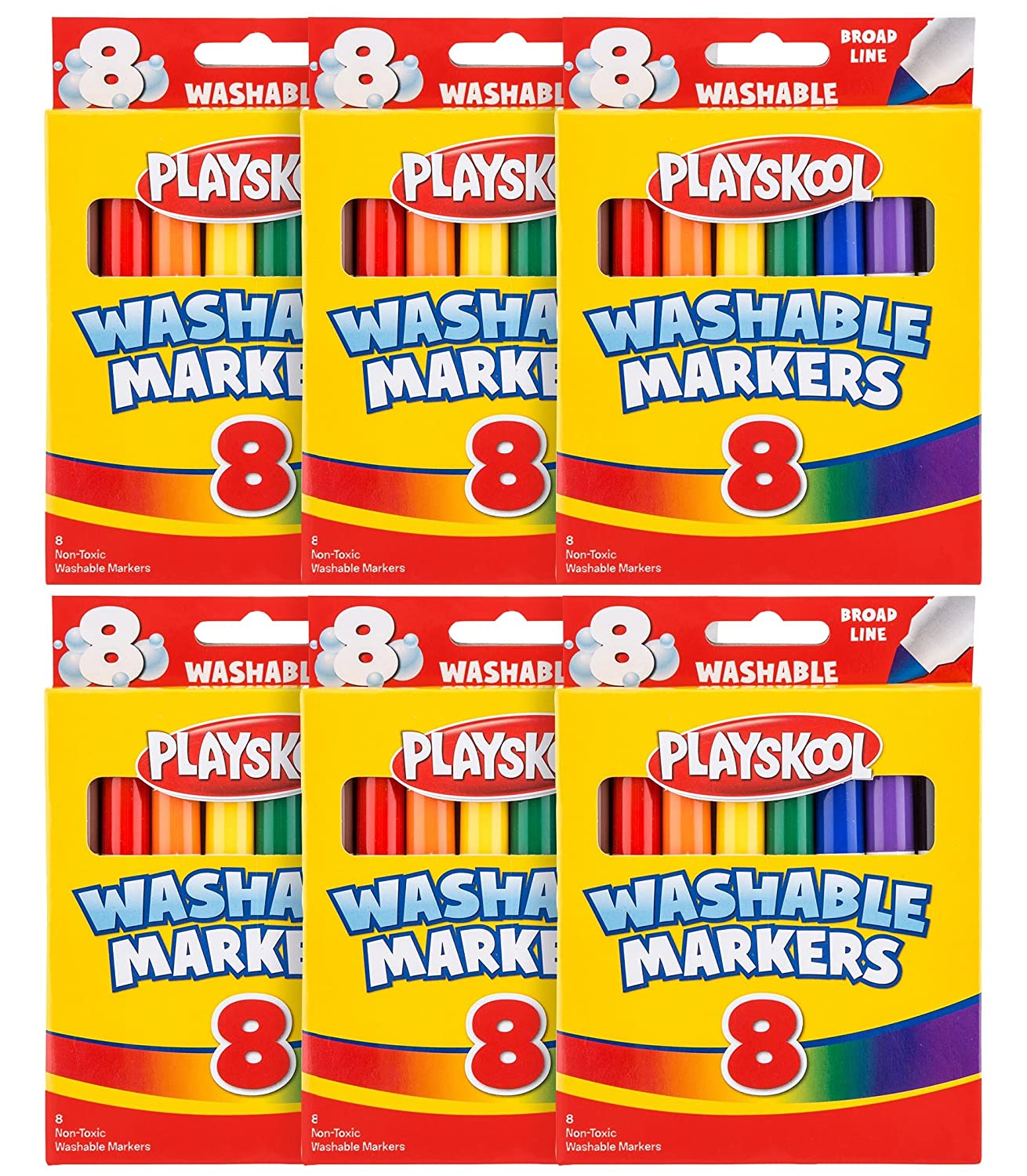 6-Pack Case Playskool 8-count Colors Broad Line Washable Markers Leap Year Publishing