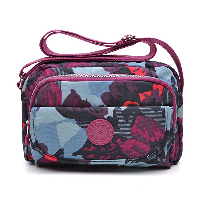 tuokener Bolsos de Mujer Nylon Impermeable Bolso Misako Bandolera Hombre Bolsa para Mujer Viajar Crossbody Bag Nylon Waterproof(púrpura)