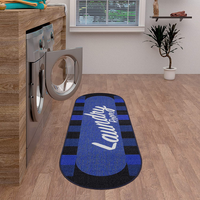 Amazon Com Ottomanson Laundry Collection Area Rug 20 X59 Oval Navy Checkered Blue Checker Furniture Decor