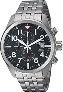 Citizen Mens Quartz Stainless Steel Casual Watch, Color:Silver-Toned (Model: