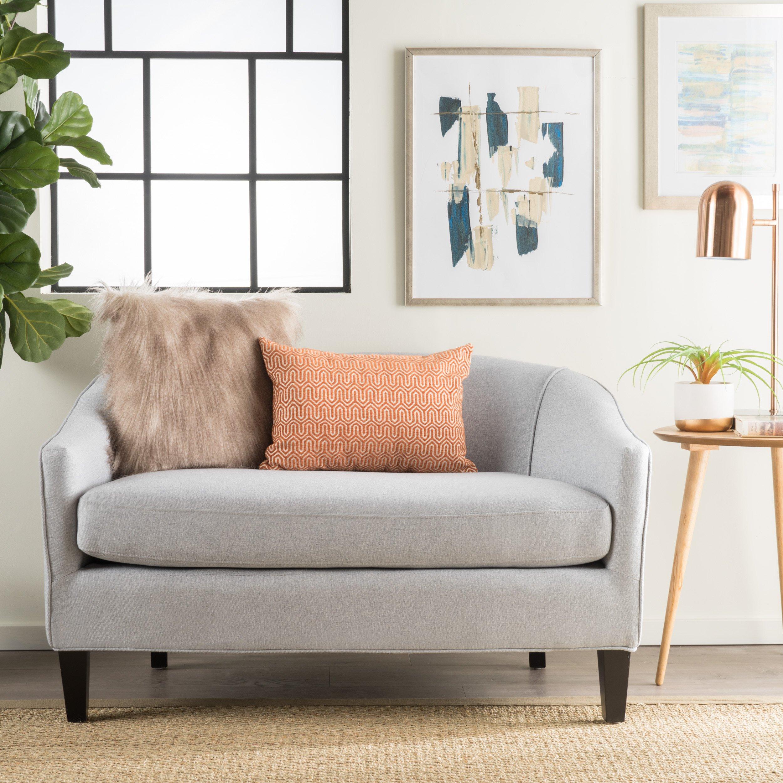 Isolde Modern Petite Loveseat (Fabric or Leather) (Light Grey Fabric)