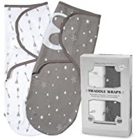 Baby Swaddle Blankets for Newborn Boy and Girl | 2 Set of Adjustable Infant Wrap with Fastener Straps | Breathable Soft Cotton | 0-3 Month