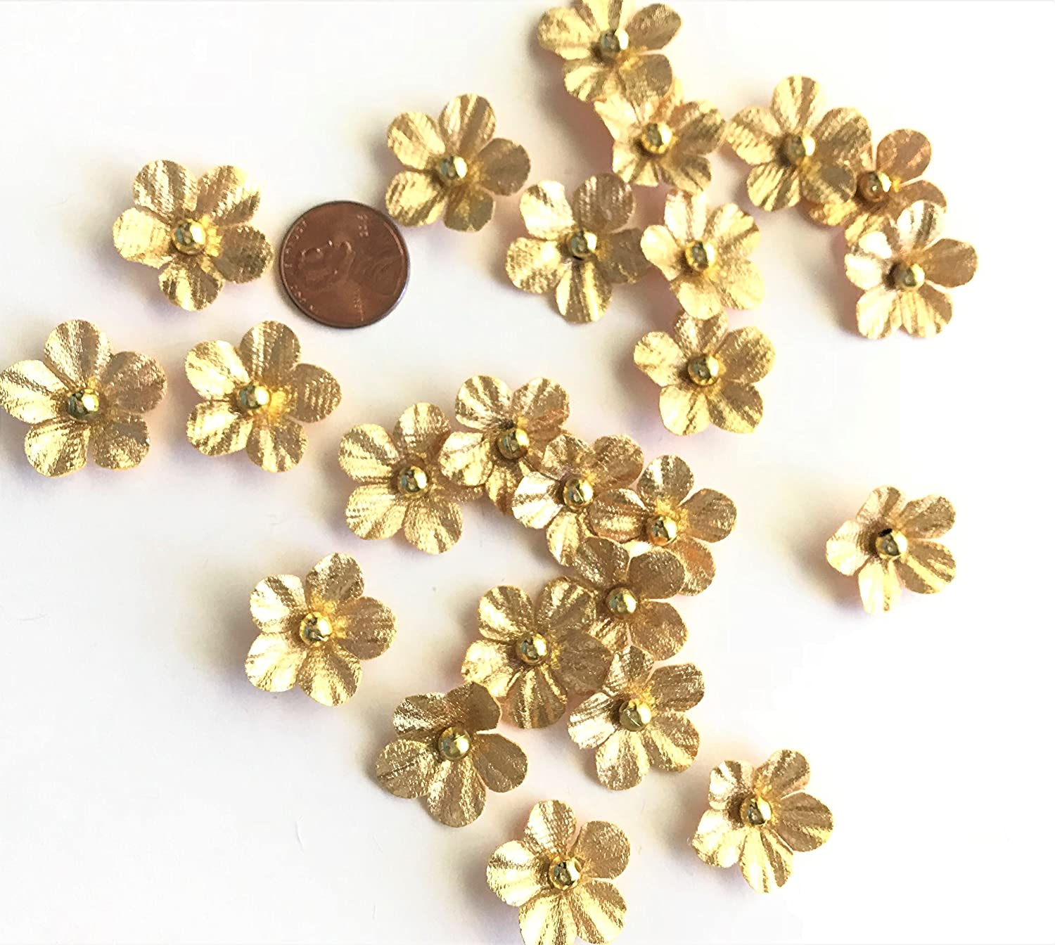 Sewing on Apparel Craft Projects Scrapbooking Mini Faux Gold Flower Embellishments Elegant Blooms /& Things Cards 24 Pcs