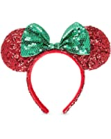 disney minnie mouse christmas headband ears sequins bow green red theme parks - Disney Christmas Ears