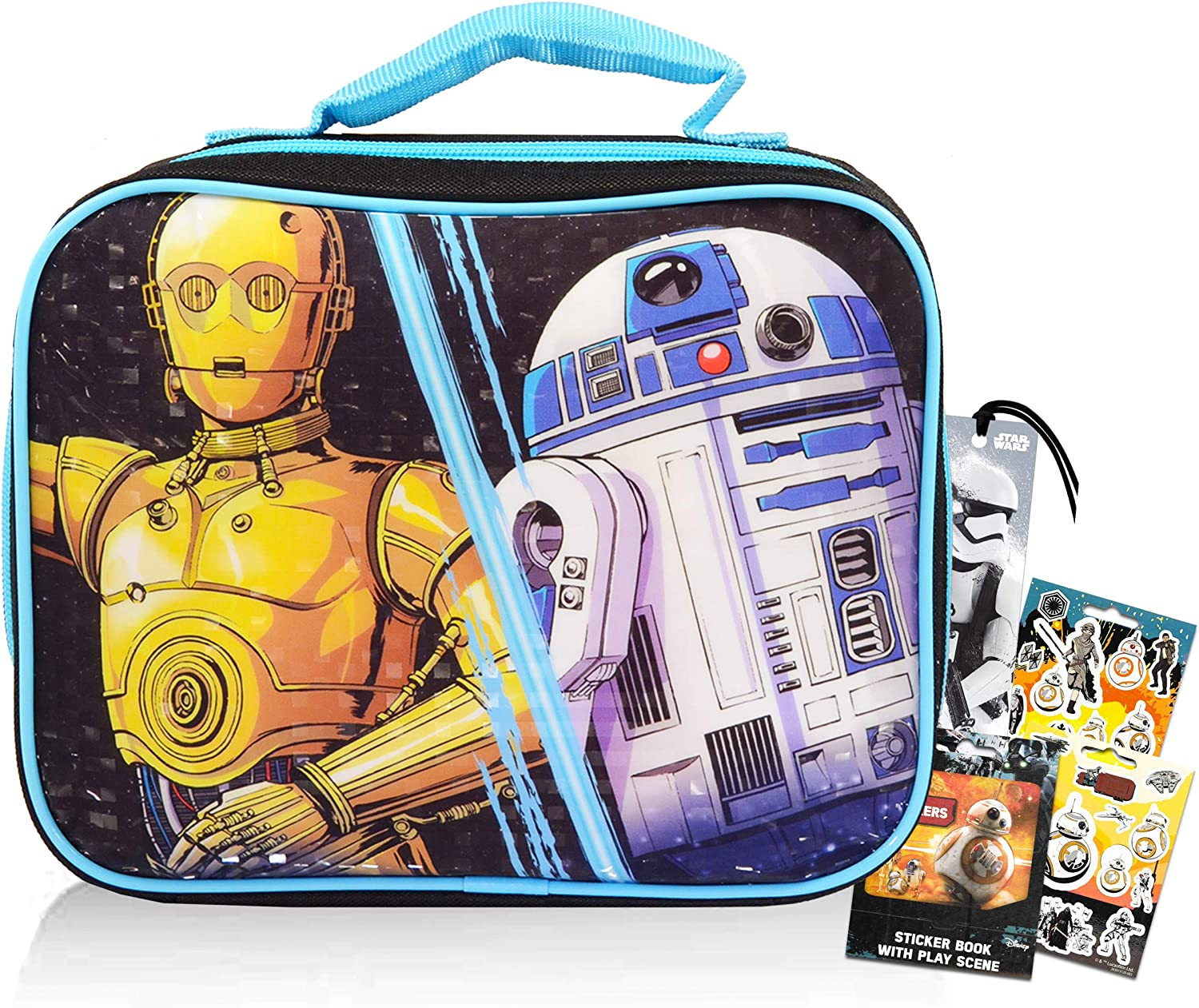 Star Wars Lunch Box Travel Bag for Boys Girls Kids ~ Star Wars School Lunch Bag Bundle with Star Wars Stickers and Bookmark (Star Wars School Supplies for Boys Girls)