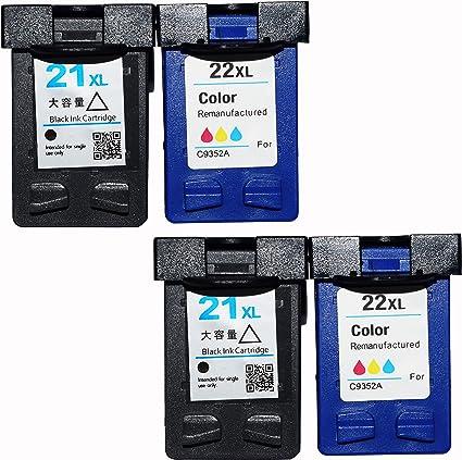 colour-store REMANUFACTURADO HP 21 y 22 Cartuchos de tinta para ...