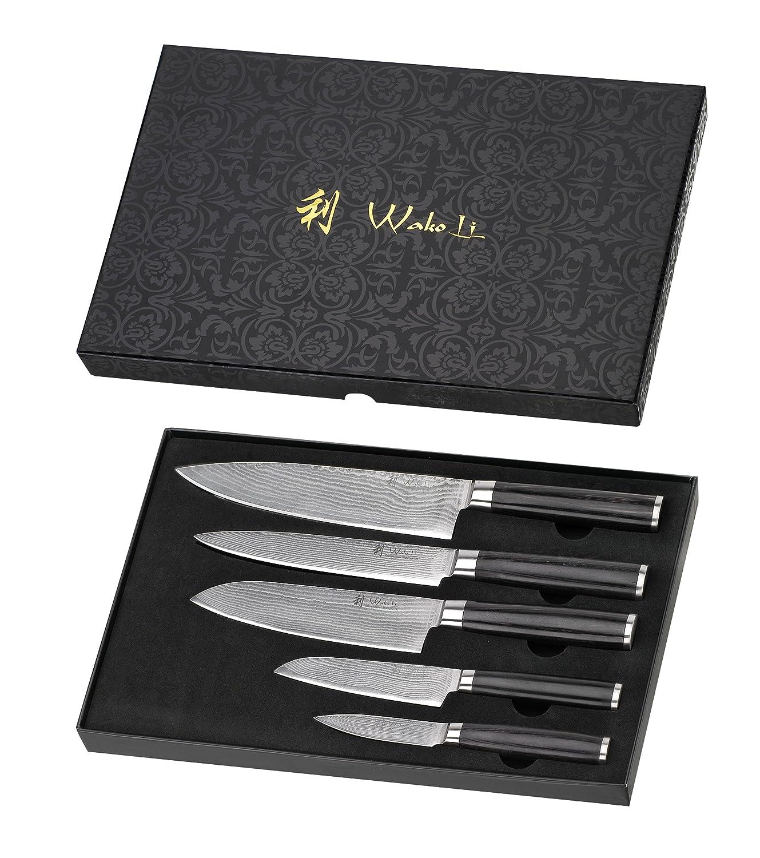 WAKOLI 5DM-HOL-PAK Pakka Lot de 5/Couteaux en Acier de Damas