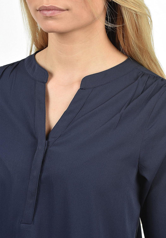 Blend SHE Amelia dam lång blus långärmad med V-ringning Mood Indigo Solid (20064)