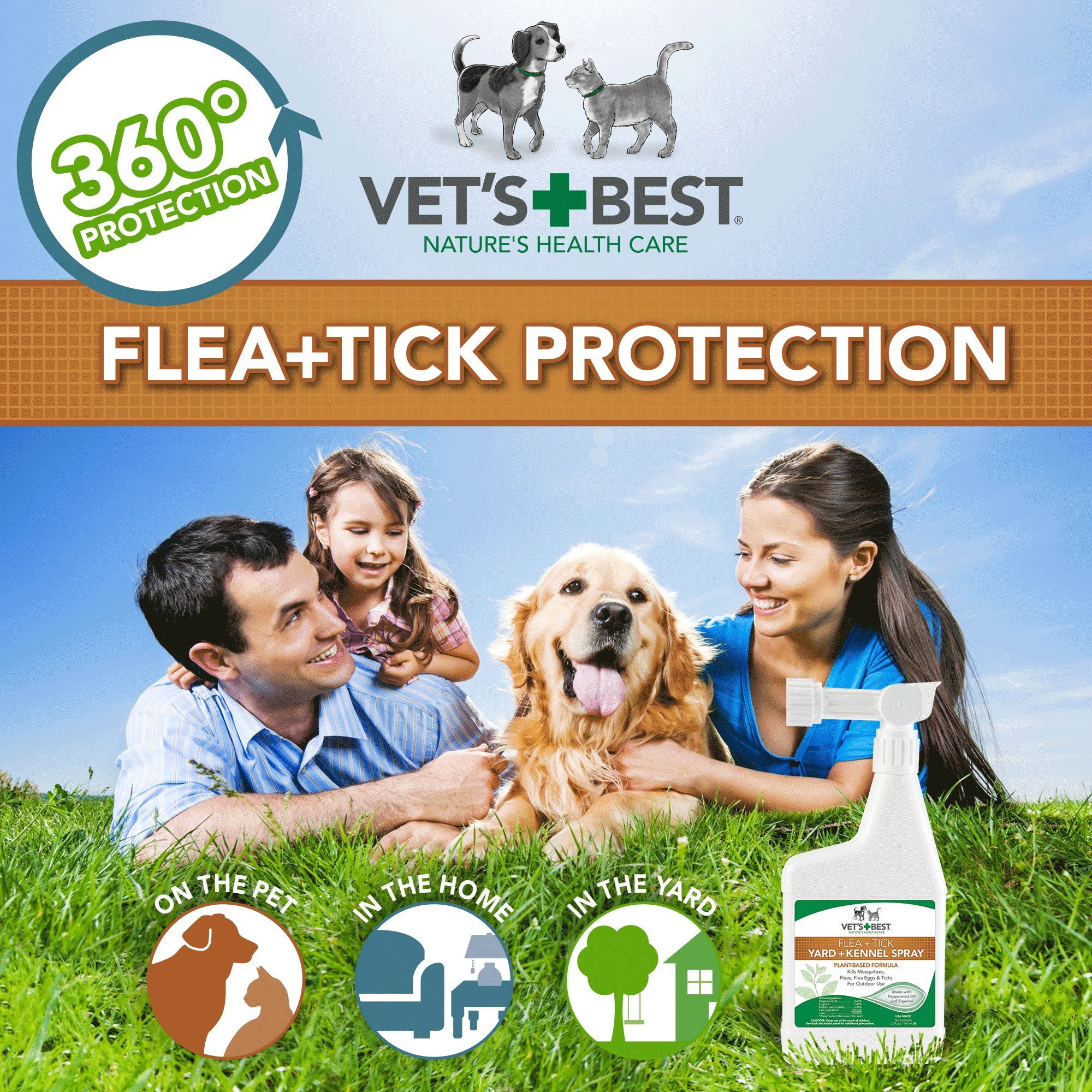 Vet's Best Flea and Tick Yard and Kennel Spray, 32 oz, USA Made by Vet's Best (Image #5)