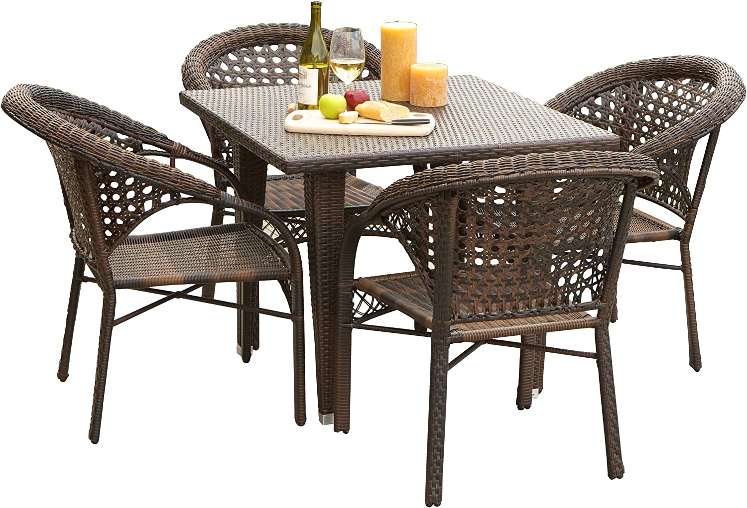 Christopher Knight Home Malibu Patio Furniture Outdoor Wicker Dining Set with Stacking Patio Chairs 5 Piece Brown