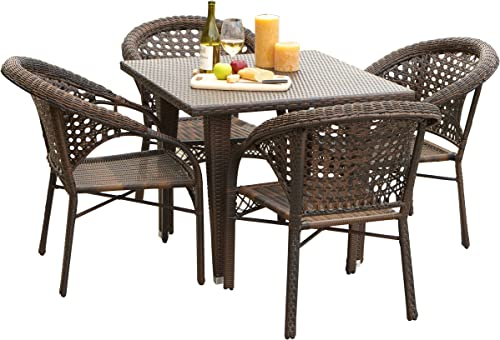 Christopher Knight Home Malibu Patio Furniture Outdoor Wicker Dining Set