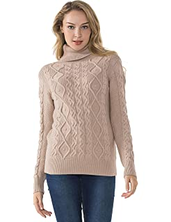 PrettyGuide Women s Turtleneck Sweater Long Sleeve Cable Knit Sweater  Pullover Tops 5cf5f048c