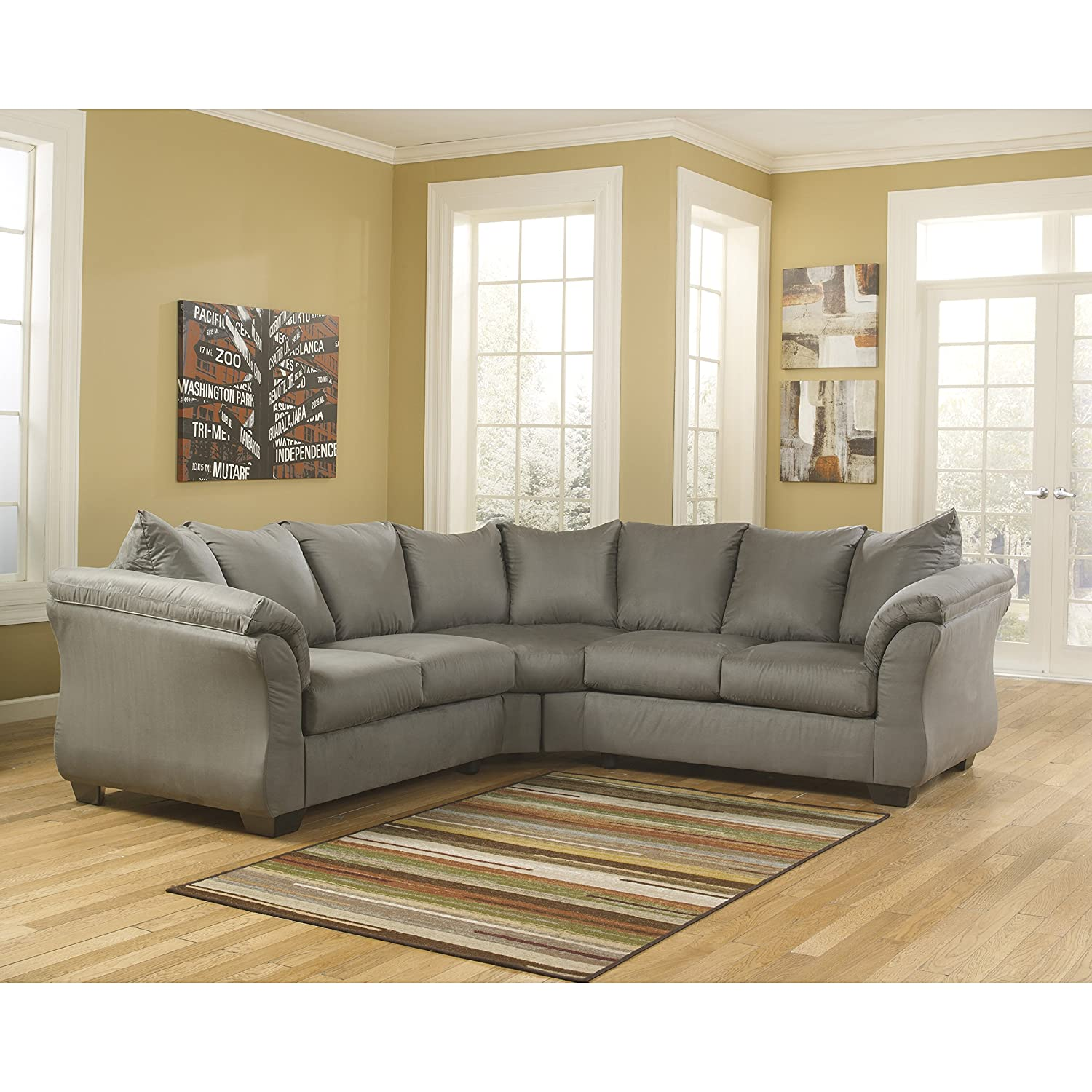 Wondrous Flash Furniture Signature Design By Ashley Darcy Sectional In Cobblestone Microfiber Cjindustries Chair Design For Home Cjindustriesco