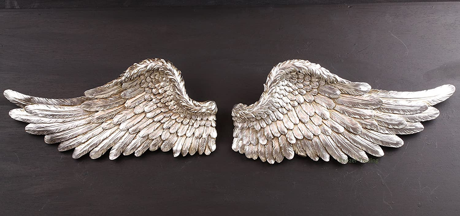 Vintagevibe large wall hanging silver angel wings amazon vintagevibe large wall hanging silver angel wings amazon kitchen home amipublicfo Gallery
