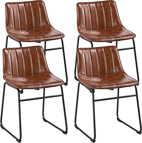 Yaheetech 18″ PU Leather Dining Chairs Armless Chairs Indoor/Outdoor Kitchen Dining Room Chair