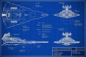 Star Wars: The Blueprints Poster Imperial Star Destroyer Wall Art Bday Gifts For Husband Vintage Blueprints Wall Decor Blueprint Star Destroyer Poster Star Wars Wall Art (24x32)