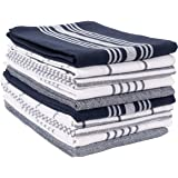 KAF Home Soho Kitchen Dish Towel Set of 10 | 18 x 28 Inch Tea Towels | Soft and Absorbent Mixed Set of Flat Towels (Navy)
