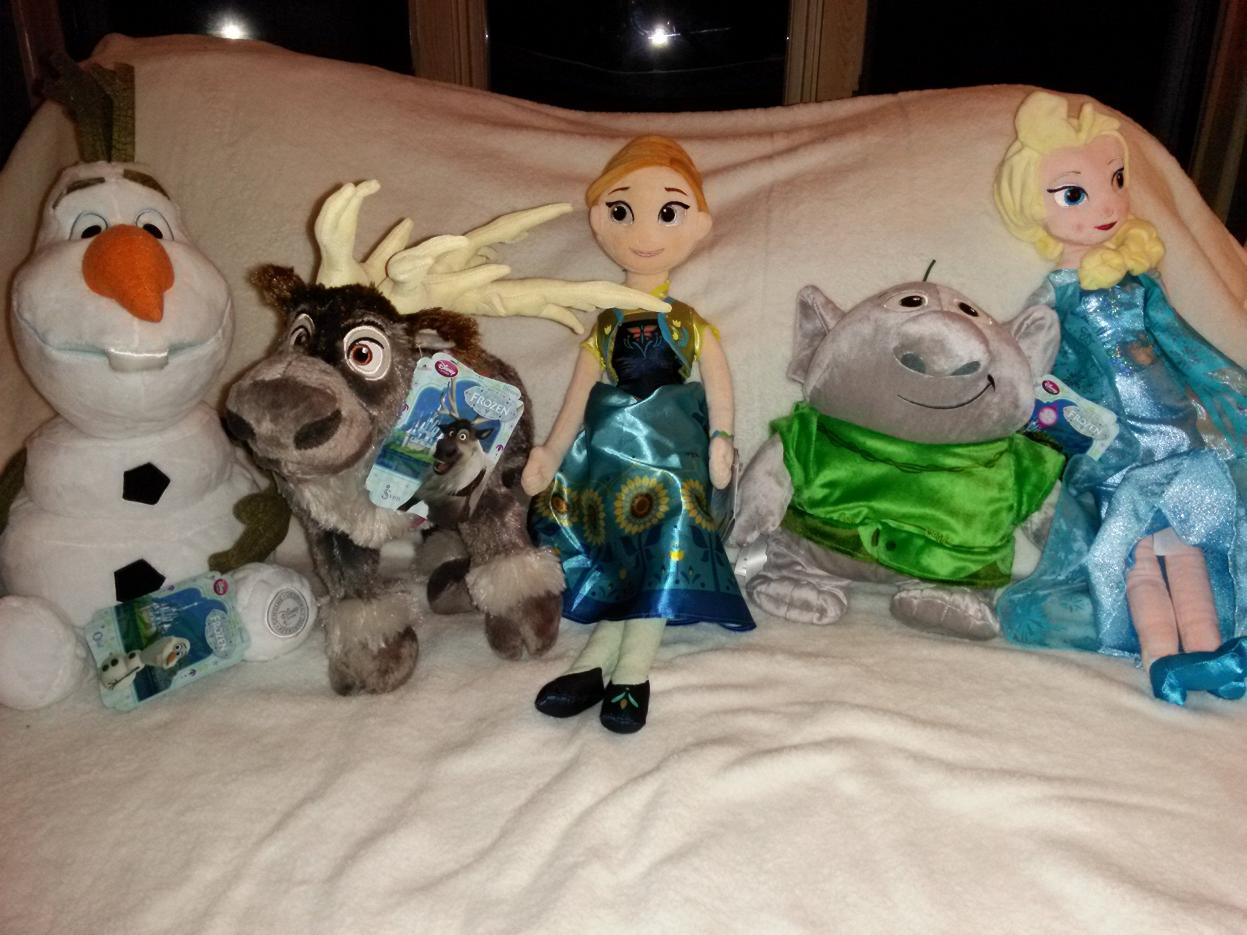 With Tags: Plush Frozen Set (5 Plushes): Olaf, Sven, Troll, Anna & Elsa (With Unpatterned Dress) by Disney