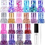 20 Colors Holographic Cosmetic Chunky Glitter, Flasoo 20 Boxes Face Body Eye Hair Nail Festival Chunky Holographic Glitter wi
