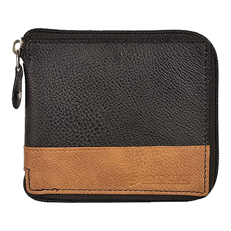 2dfa3413c8f1 Skydove Artificial Leather Full Round Chain Black Wallet for Men  Amazon.in   Bags