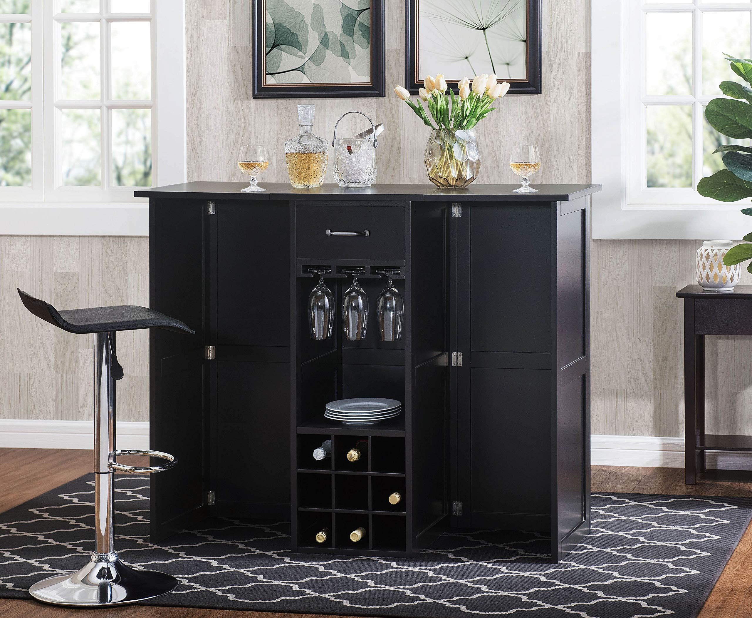 2L Lifestyle  Southwood Folding Wine Cabinet Bar,  Large,espresso by 2L Lifestyle