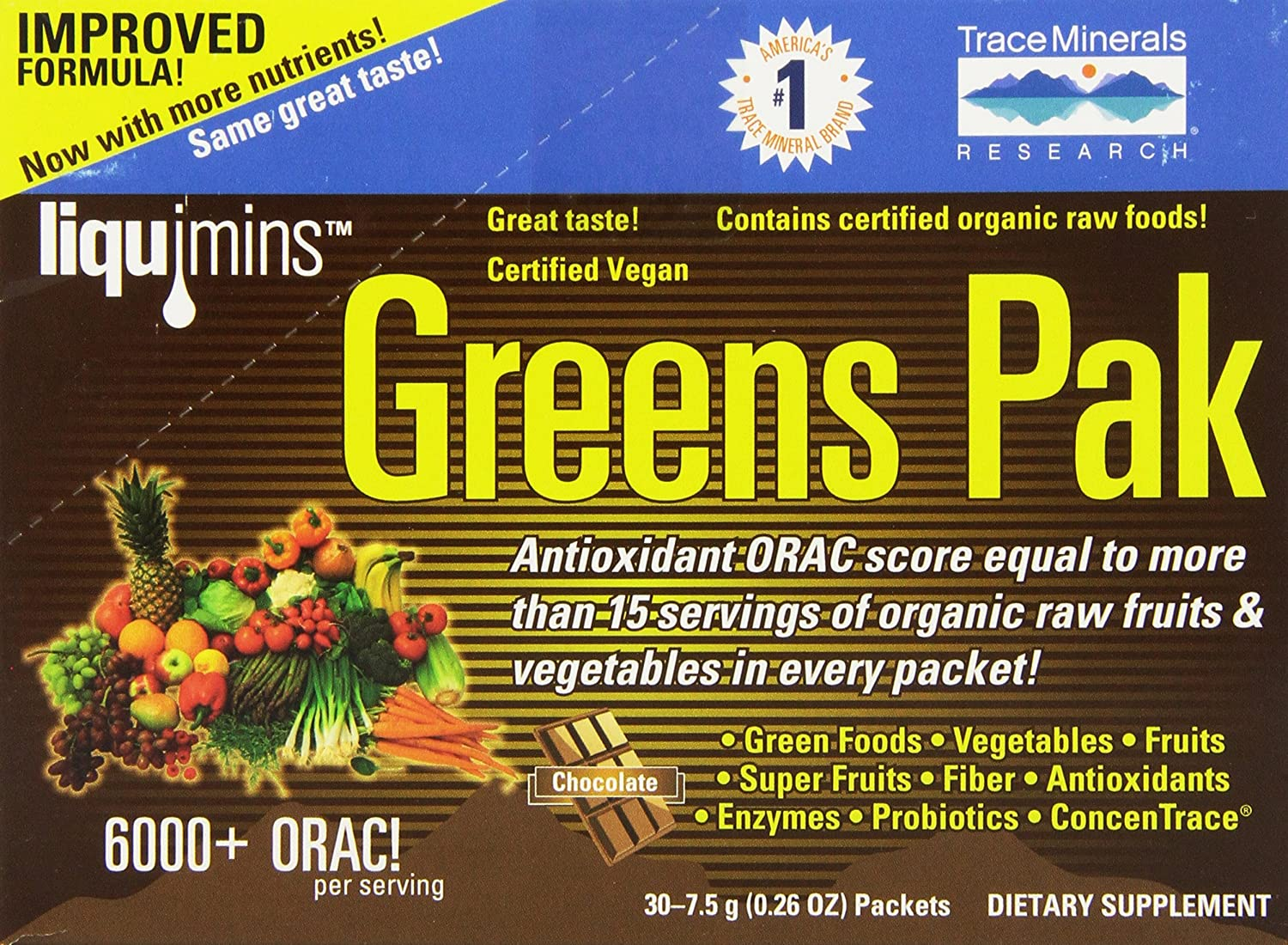 Trace Minerals Greens Pak, Chocolate, 0.26 Oz Packets, 30-Count