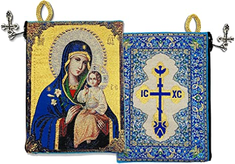 Zippered Purse Mother Of God Icon of Virgin Mary Madonna Tapestry Bag