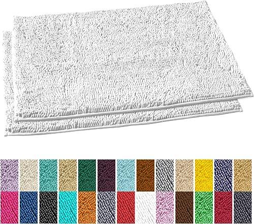 LuxUrux Bathroom Rug Mat Set Extra-Soft Plush Bath mat Shower Bathroom Rugs 23 x 36 inch Set,1 Chenille Microfiber Material, Super Absorbent. Rectangular 23 x 36 Set, White
