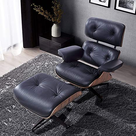 Wondrous Modern Sources Mid Century Recliner Lounge Chair With Ottoman Real Wood Genuine Italian Leather Eames Replica Black Palisander Wood Alphanode Cool Chair Designs And Ideas Alphanodeonline