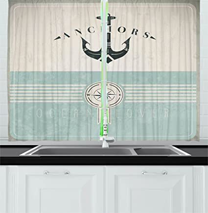 Exceptionnel Ambesonne Nautical Kitchen Curtains By, Aged Ocean Lover Phrase With Anchor  Figure And Compass Marine