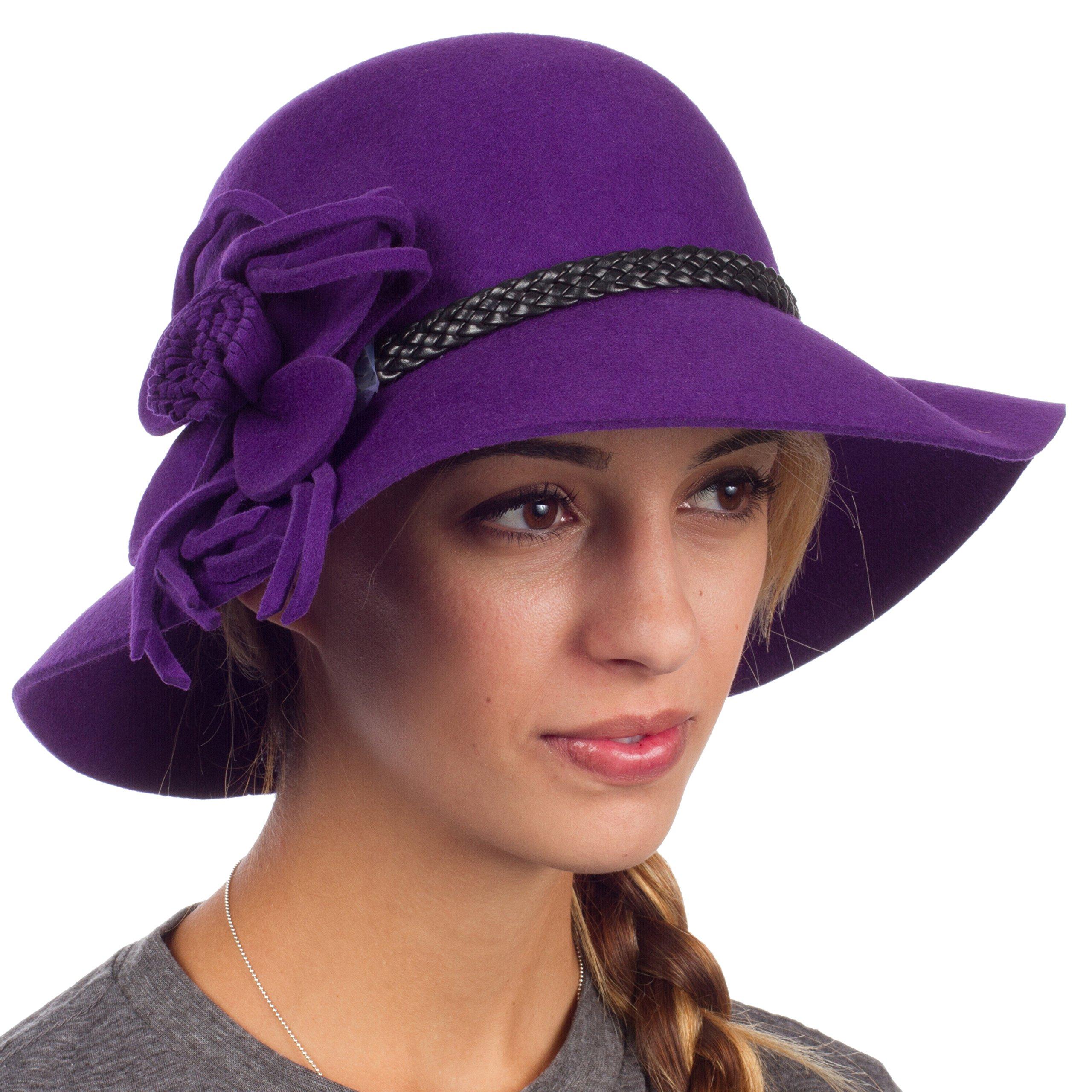 Sakkas 30M Gloria Vintage Style Wool Cloche Hat - Purple - One Size