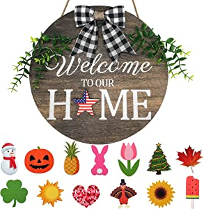Seasonal Welcome Sign with 14 Pcs Hanging Ornaments - Interchangeable Front Door Decor - Rustic Wood Wall Hanging Porch Holiday Decorations for Housewarming Gifts/Farmhouse Outdoor Home Decor