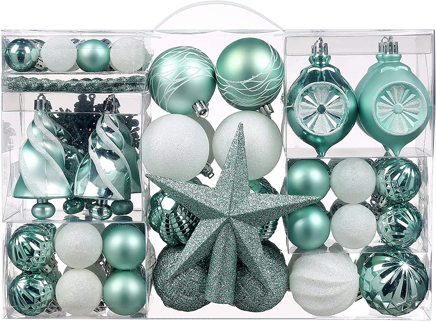Christmas Ball Ornaments, 100 Pcs Assorted Shatterproof Christmas Ball Set with Gift Package, for Christmas Tree Decor(Mint Green and White)