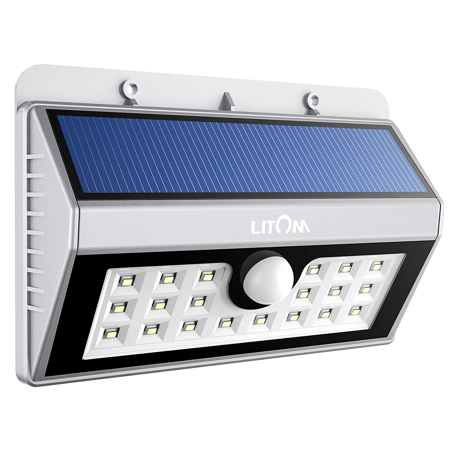 Litom solar lights outdoor wireless 24 led motion sensor solar litom lsl7s 20 big led solar sensor powered wall lights weatherproof for outdoorsilver mozeypictures Choice Image