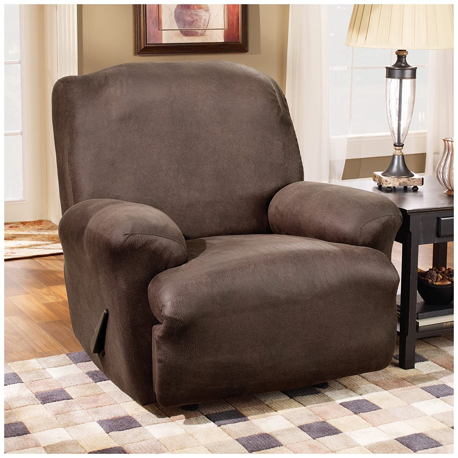 Amazon.com Sure Fit Stretch Leather 1-Piece - Recliner Slipcover - Brown (SF37162) Home u0026 Kitchen : reclining chair cover - islam-shia.org