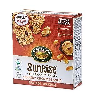 Nature's Path Organic Gluten Free Chewy Granola Bars, Sweet & Salty, Chunky Chocolate Peanut, 6.2 Ounce Box