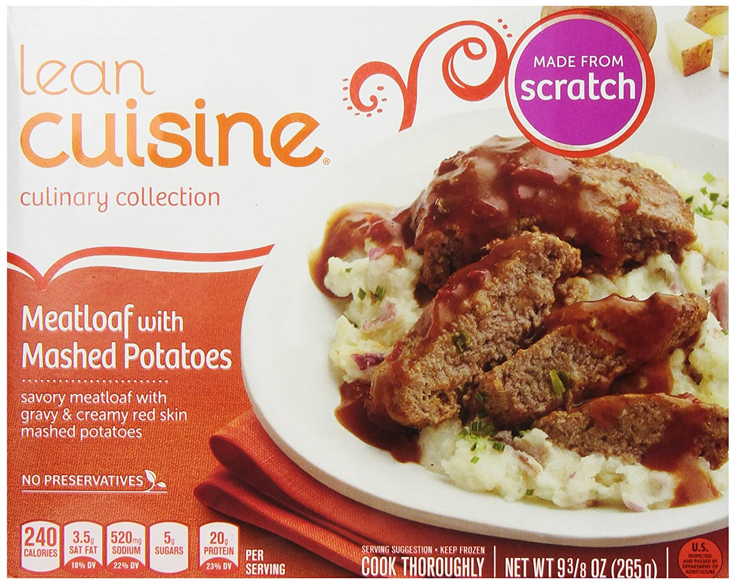 LEAN CUISINE COMFORT Meatloaf with Mashed Potatoes 9.38 oz. Box | Delicious  Frozen Meals: Amazon.com: Grocery & Gourmet Food