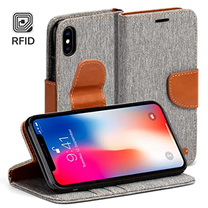 meet 13da7 0177a Amazon.com: GMYLE iPhone X Case Wallet, [RFID Blocking Wallet ...