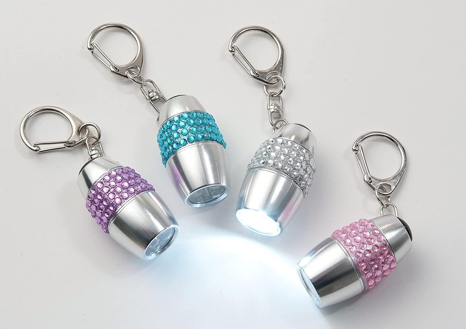 Bejewelled Keyring LED Torches - Set of Four (Pink, Blue, Purple & Silver) itsawot.com