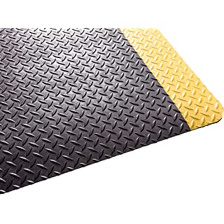 Guardian Safe Step Anti-Fatigue Floor Mat, Vinyl, 3'x5', Blk/Ylw
