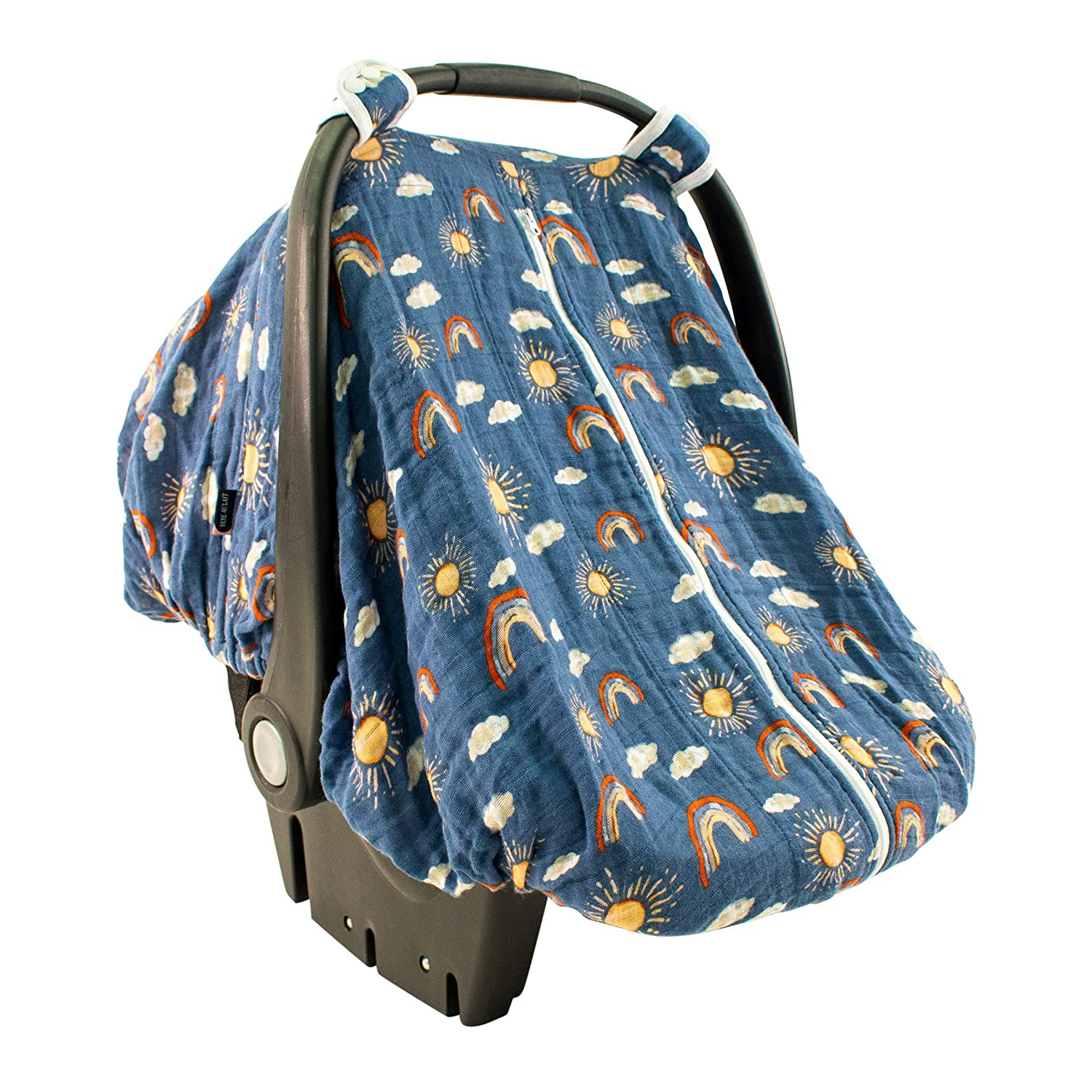 Bebe au Lait Classic Muslin Car Seat Cover, Easy Snap Straps, Fully Zippered Opening - Hello Sunshine