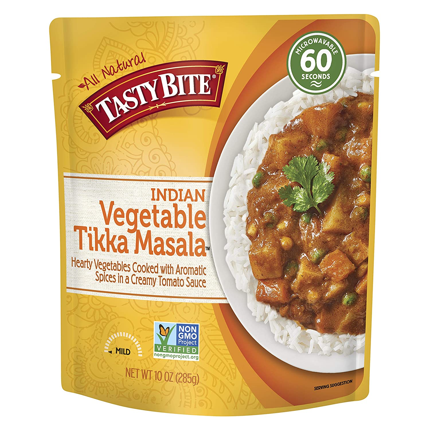Tasty Bite Indian Entree Vegetable Tikka Masala 10 Ounce (Pack of 6), Fully Cooked Indian Entrée with Vegetables & Aromatic Spices in Creamy Tomato Sauce, Vegetarian, Gluten Free, Ready to Eat