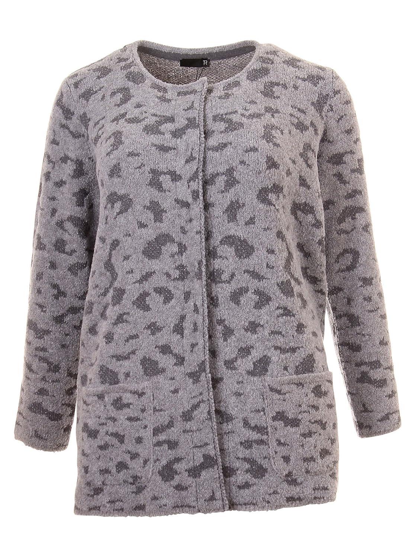 Cardigan mit Animal-Muster in grau in Übergrößen (44, 46, 48, 50) von Rabe