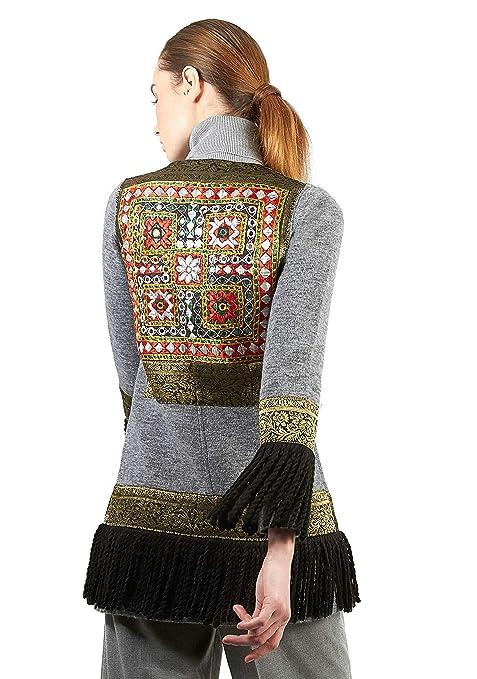 The Extreme Collection® - Chaqueta étnica de Punto en Color Gris con Flecos y Bordada para Mujer: Amazon.es: Ropa y accesorios