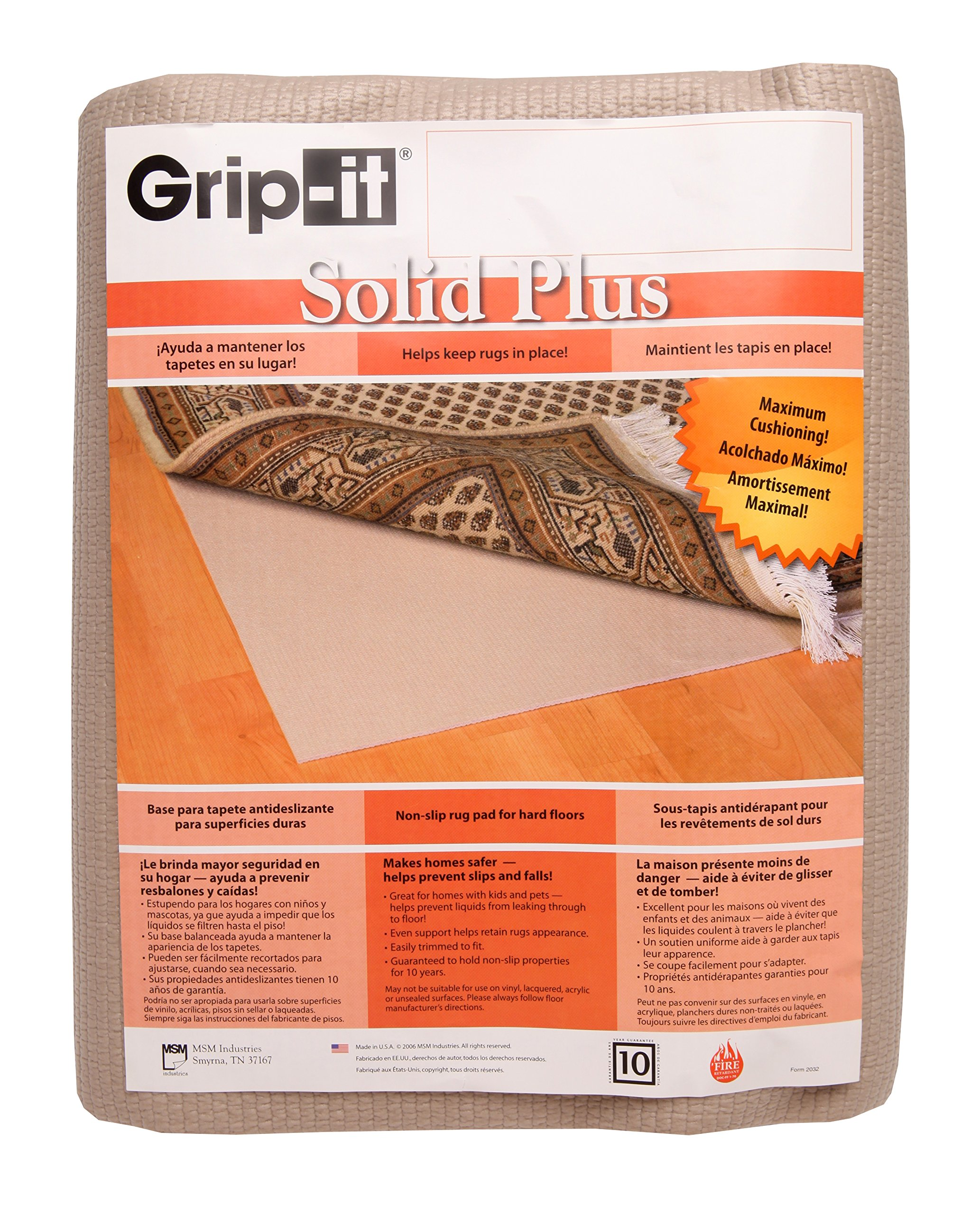 Grip-It Cushioned Non-Slip Rug Pad for Rugs on Hard Surface Floors, 10 by 14-Feet by Grip-It