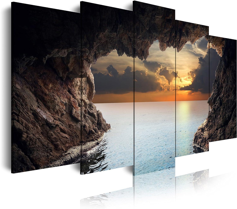DekoArte - Cuadros Modernos Impresión de Imagen Artística Digitalizada | Lienzo Decorativo Para Tu Salón o Dormitorio | Estilo Paisaje Relajación Cueva Naturaleza Amanecer | 5 Piezas 150 x 80 cm