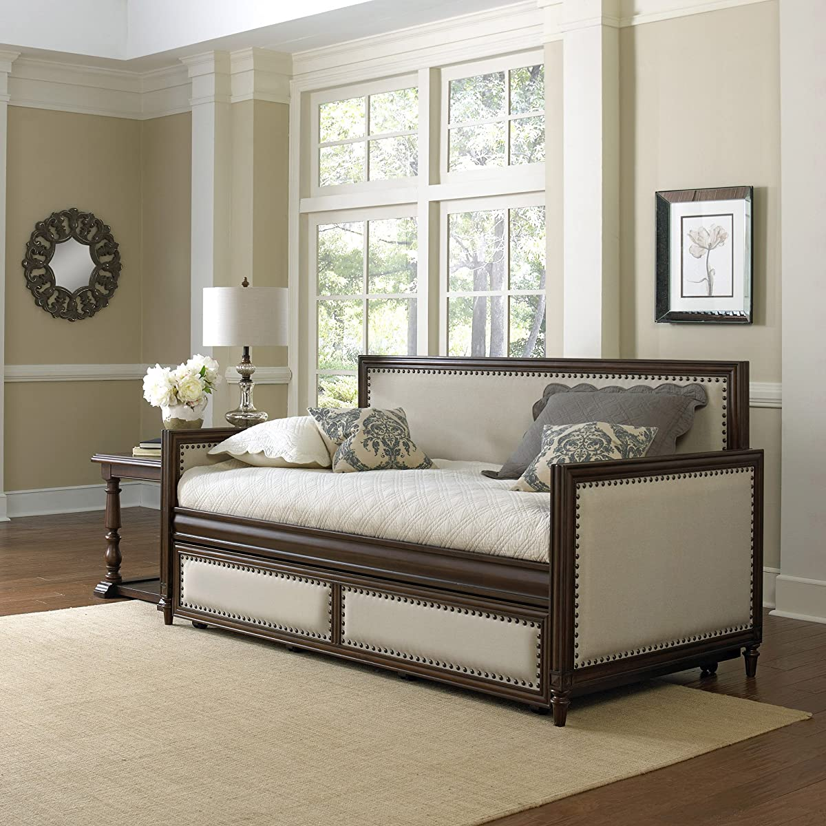 Fashion Bed Group Grandover Wood Daybed with Cream Upholstered Panels and Roll Out Trundle Drawer, Espresso Finish, Twin